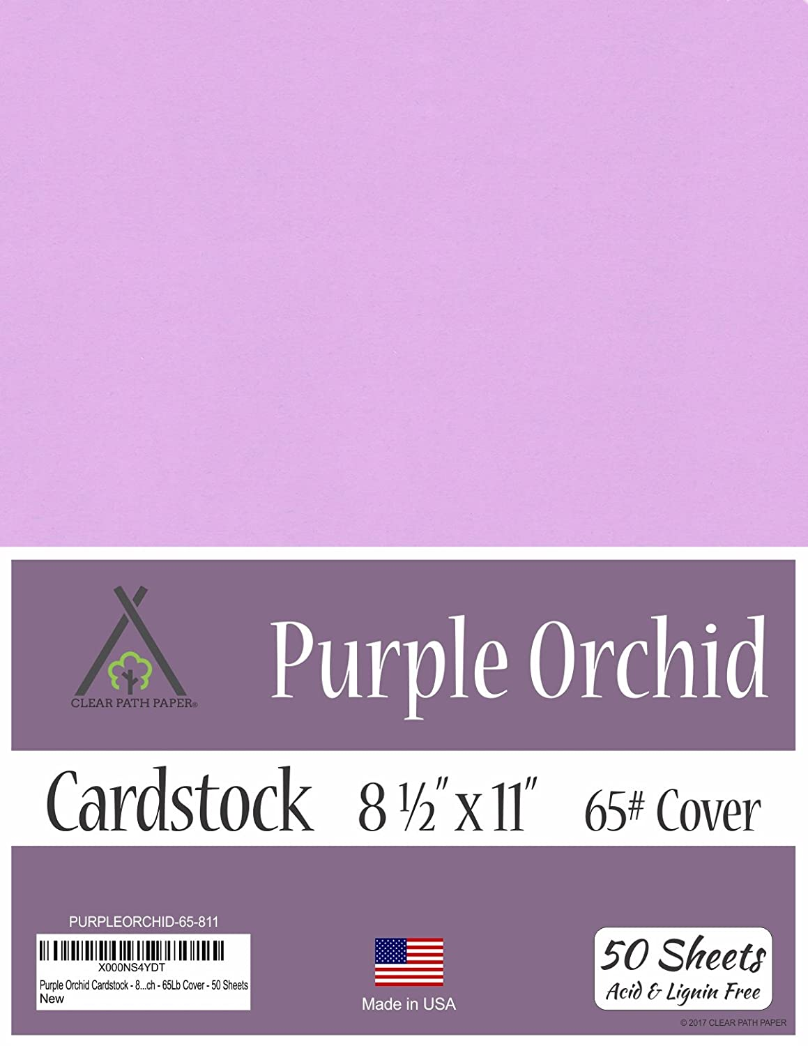 Purple Orchid Cardstock - 8.5 x 11 inch - 65Lb Cover - 50 Sheets Clear Path Paper 4336868156