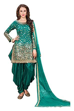 Aadhya Creation Women\'s Taffeta Silk semi stitched Real Mirror work ...