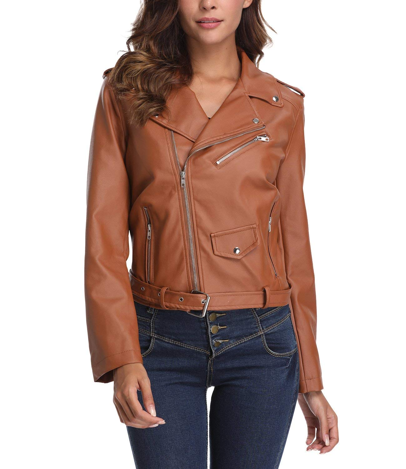 Chenghe Women's Faux Leather Motorcycle Zip up Short Bomber Jacket (Large, Brown)