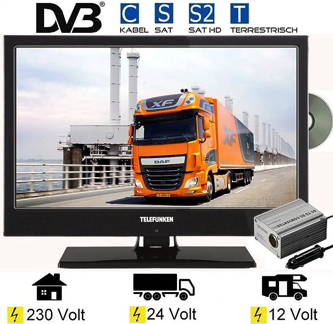 Telefunken L19H130 X LED televisor 19 pulgadas 48 cm, TV con DVB-S/S2/T/C, DVD, USB, 230 V + 12 V + 24 V, clase energética A: Amazon.es: Electrónica