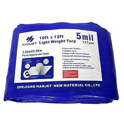 Hanjet Multi Purpose Waterproof Tarp 10 x 12 Feet 5 Mil Thick Material, Waterproof, for Tarpaulin Canopy Tent, Boat, RV or Pool Cover Blue