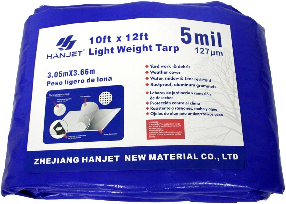 Hanjet Lightweight Outdoor Camping Tarp 6 x 8 5-mil Waterproof Boat Tarps Covers with Grommets Blue