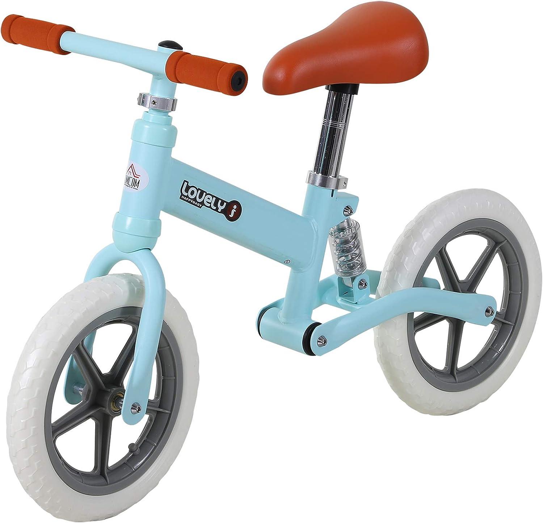 HOMCOM Bicicleta Sin Pedales para Niños Mayores de 2 Años Bicicleta Entrenamiento Equilibrio 85x36x54 cm (LxANxAL) Color Azul