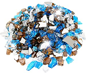 Utheer Fire Glass Blended Ultra-White, Caribbean Blue, Copper Reflective 9.5-Pound 1/2 Inch for Indoor Outdoor Fireplaces/Fire Pits/Fire Bowls/Vase Fillers/Garden Landscape Decorative