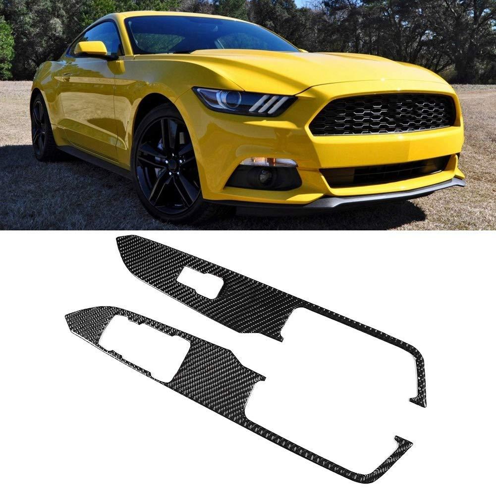 Qii lu 2 St/ücke Fensterheber Schalterabdeckung Carbon Fensterheber Steuerschalter Panel Abdeckung Trim Fit f/ür Mustang 2015-2017