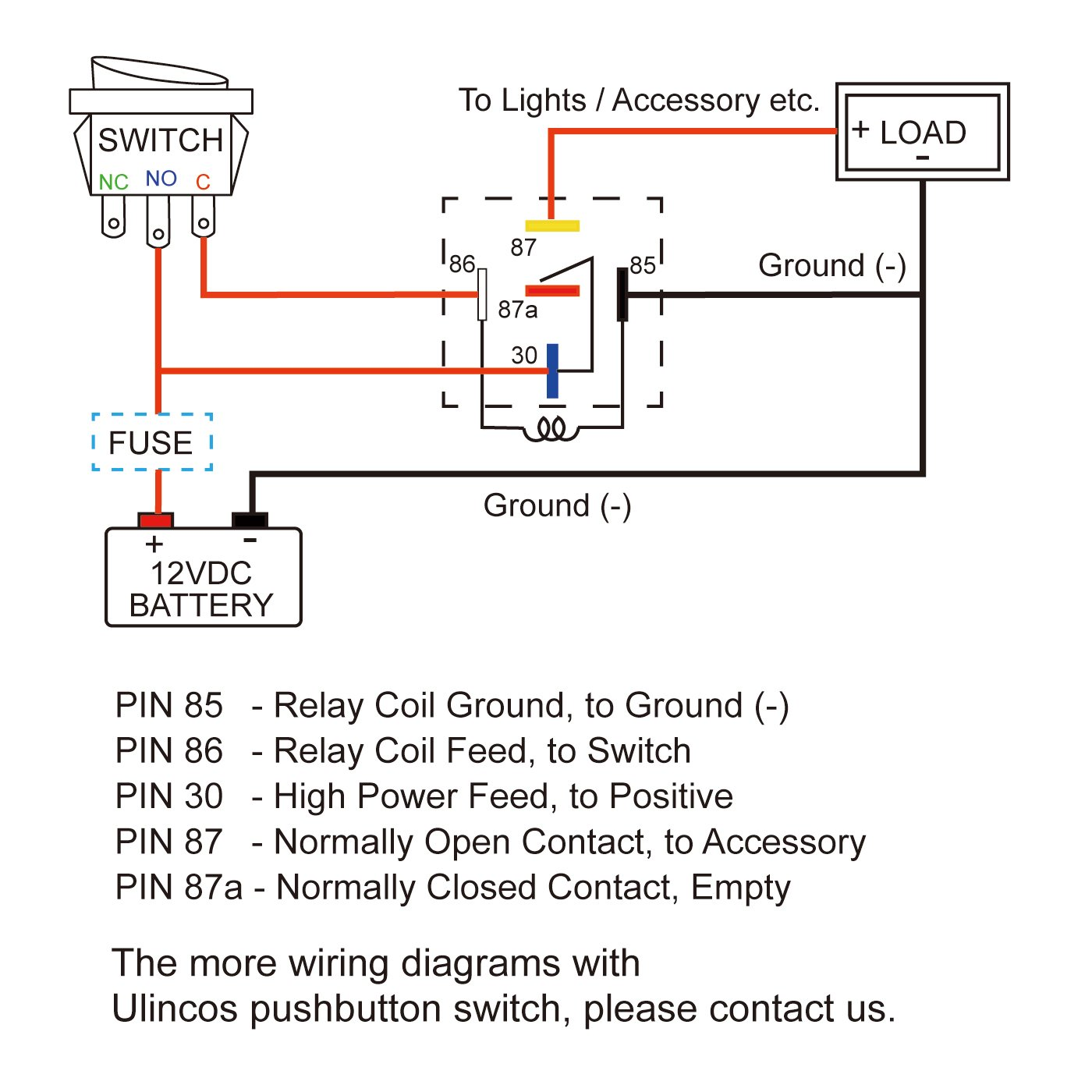 Relay Rls125 12 Vcd Wiring Diagram Library Normally Open Amazoncom Ulincos Auto U1914 With 14awg Wire Harness 12v Dc 30