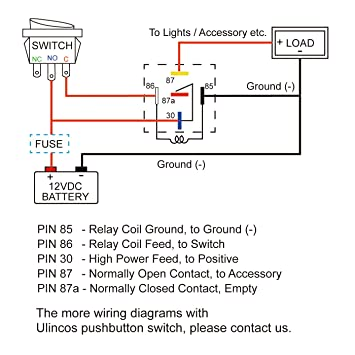 71lCbMzqaoL._SY355_ amazon com ulincos auto relay u1914 with 14awg wire harness, 12v H8QTB Ford Relay Wiring Diagram at edmiracle.co