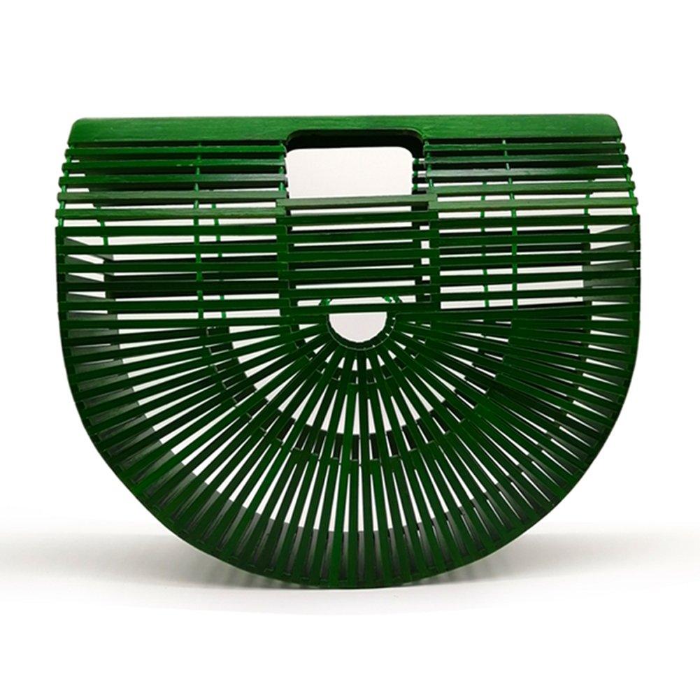 Women Bamboo Purse Handmade Handbag Large Tote Bag Green