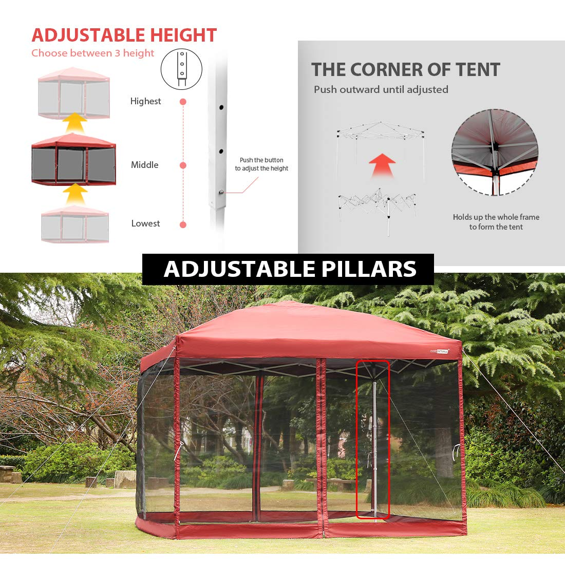 VIVOHOME 210D Oxford Outdoor Easy Pop Up Canopy Screen Party Tent with Mesh Side Walls