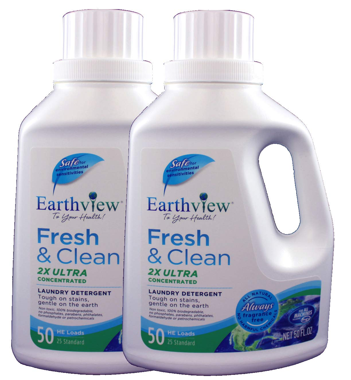 Earthview Laundry Detergent, Fragrance Free, 2 pk/ 50 oz- Designed for Environmental Sensitivities (MCS, EI, MI)