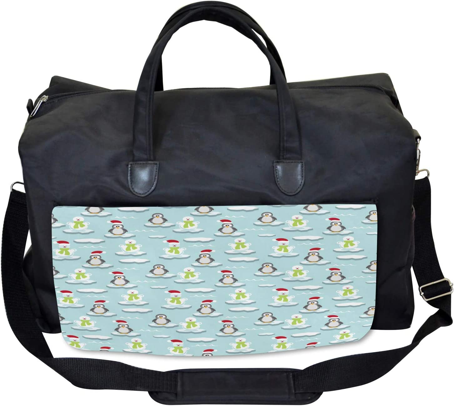 Penguin Snowman Ice Floe Large Weekender Carry-on Ambesonne Funny Gym Bag