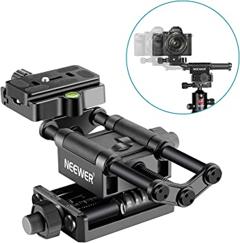 Neewer All Metal Wormdrive Macro Focusing Focus Rail Slider//Close-up Shooting Clamp Plate 115mm Adjustment with 1//4 inch Screw Head for DSLR Cameras,Tripod Ballhead Arca//RRS Lever Clamp Compatible