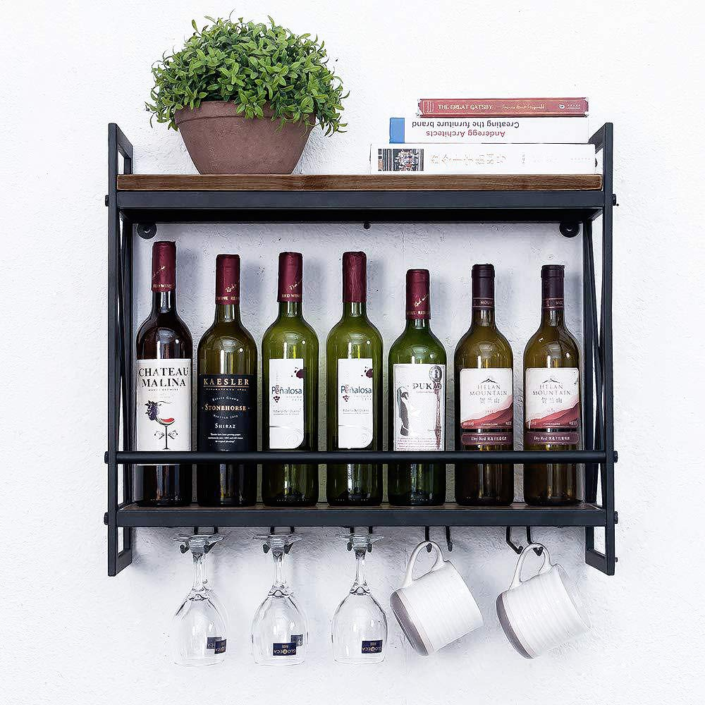BENOSS Industrial Wall Mounted Wine Racks with 5 Stem Glass Holder, 2 Tier Metal Hanging Wine Rack, 23.6 in Metal Hanging Wine Holder, Wood Shelf Floating Shelves by BENOSS