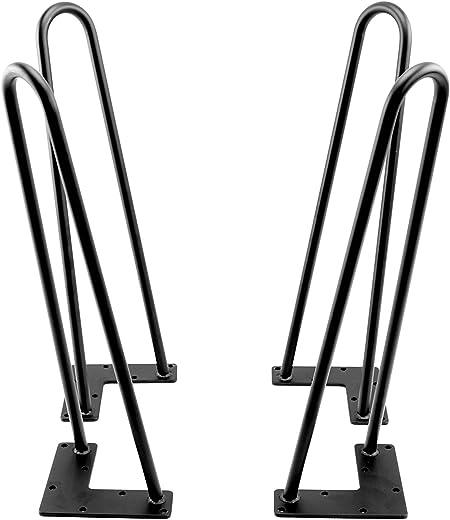 color negro satinado 4 horquillas de metal para patas de mesa de 28 pulgadas