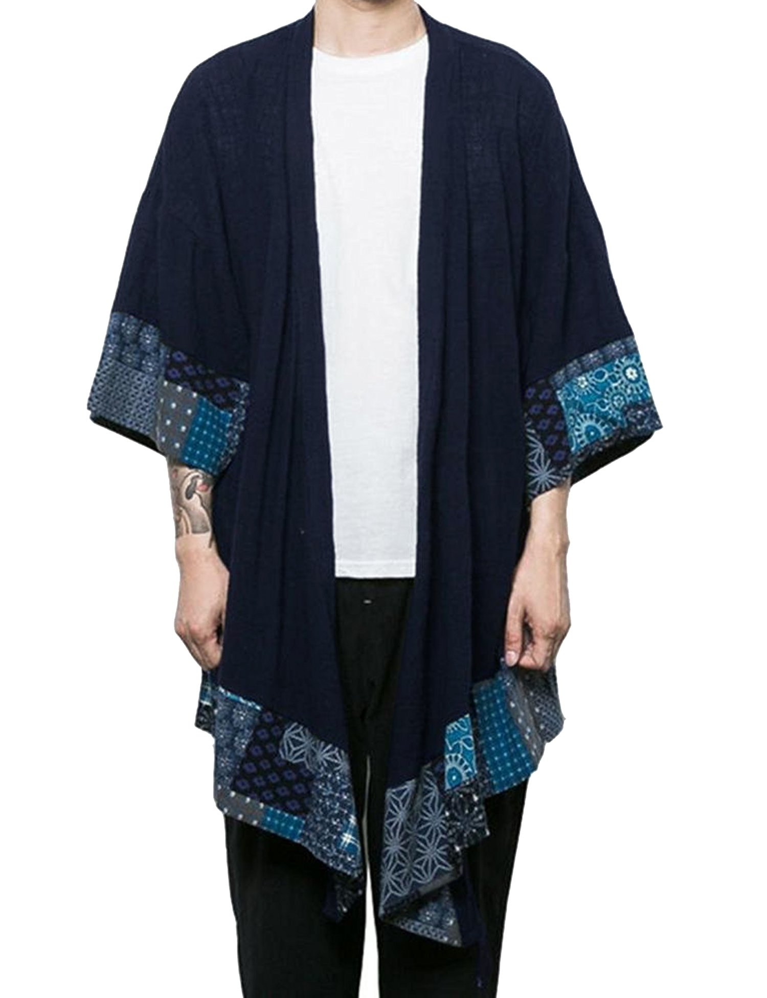 COOFANDY Men's Cardigan Lightweight Cotton Sweater Kimono Style Cloak Open Front Cape, Navy Blue, XX-Large