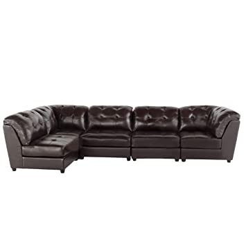 Amazon Com Christopher Knight Home Regen 5 Piece Tufted Leather