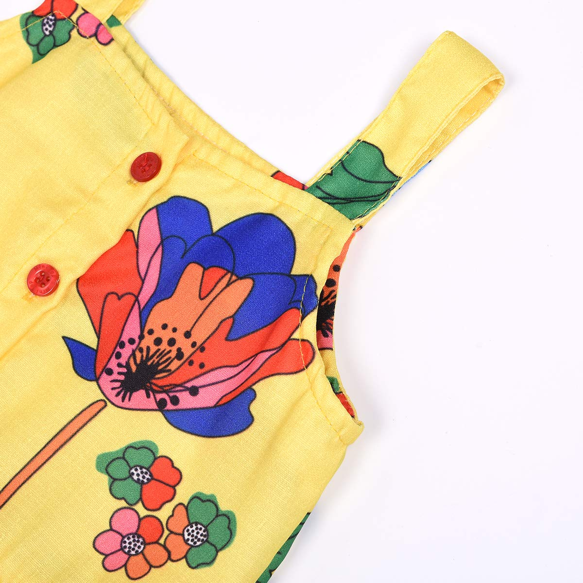 2Pcs Baby Girls Straps Toddler Floral Top Ruffle Shorts Outfits Sets for Kids