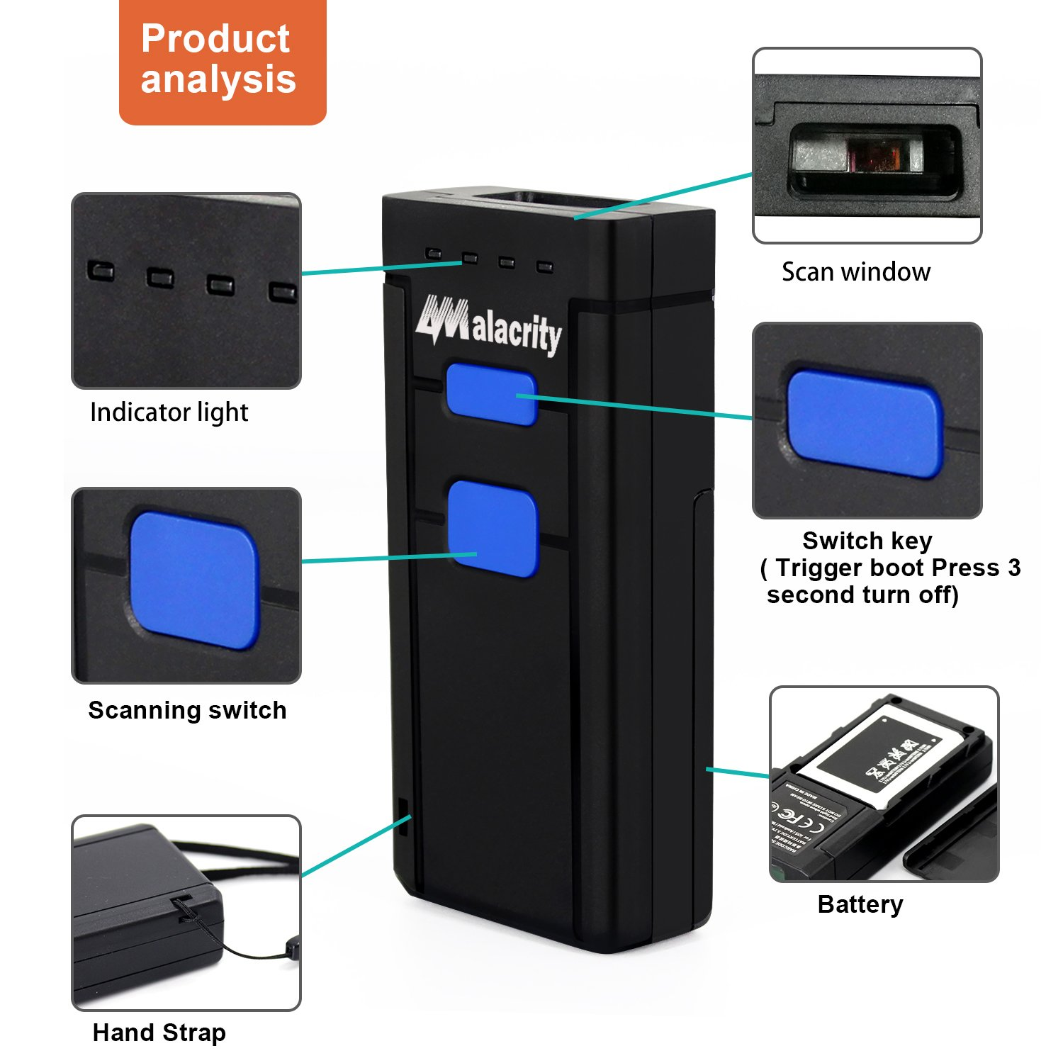 Alacrity Portable 1D and 2D BTWireless Barcode Scanner,Handheld Mini Barcode Reader for Windows,Android,iOS,Mac.Able to Scan Codes on Screen