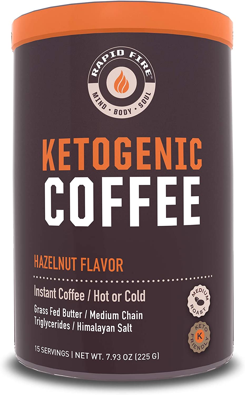 Rapid Fire Hazelnut Ketogenic Coffee, Supports Energy, Metabolism and Weight Loss, 7.93 oz. (15 Servings)