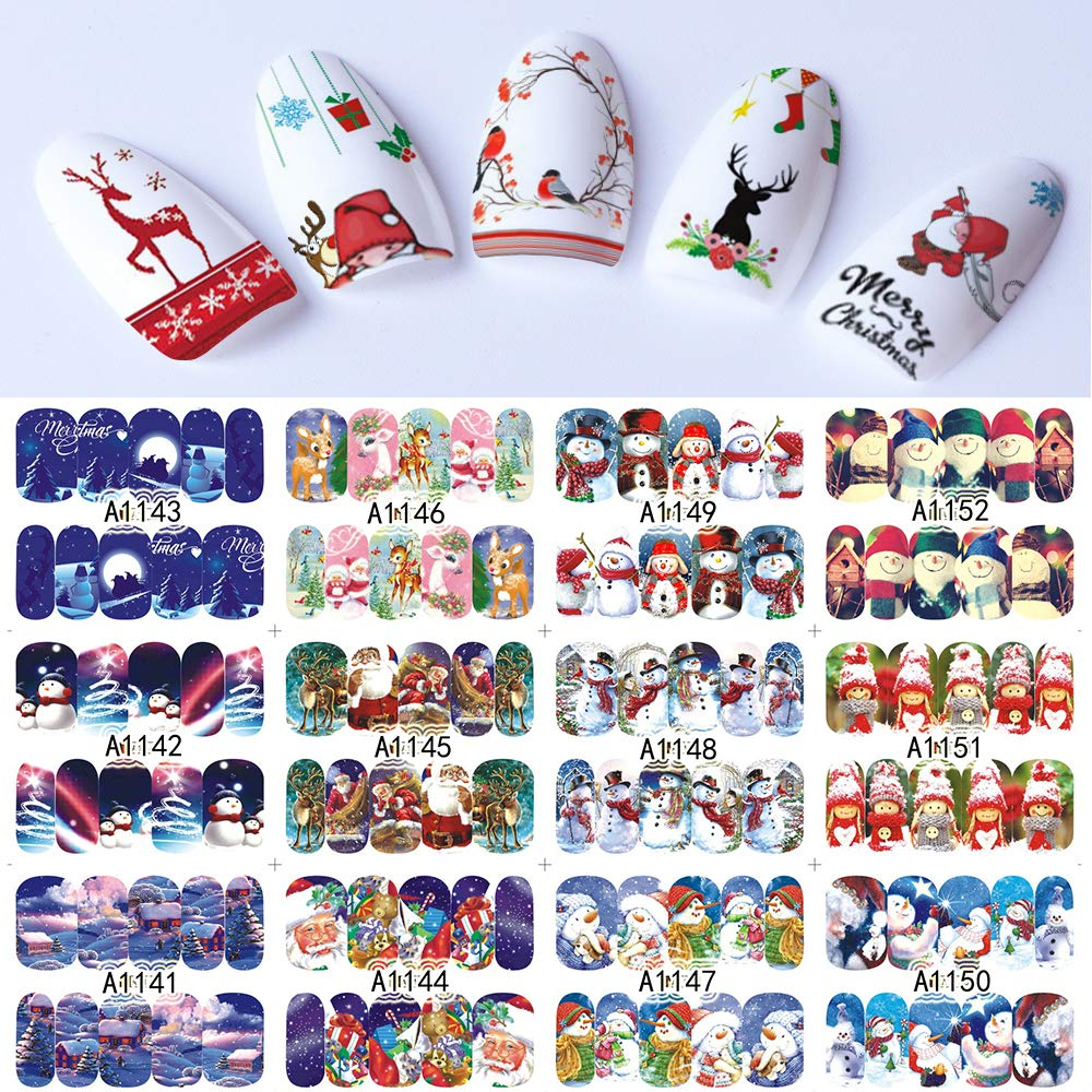 48 Sheets Nail Stickers Set Christmas Winter Snowflake Women Red White Slider Gift Manicure Foil For Nail Art Decal Vonrui