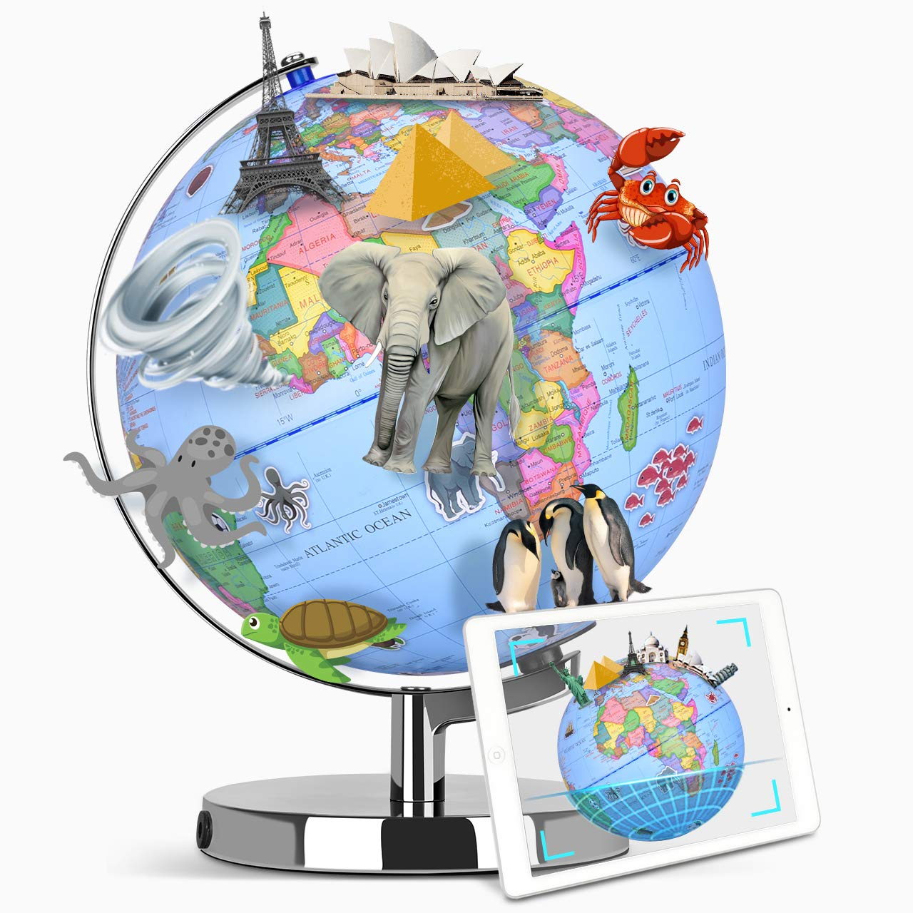 Smart Globe - Augmented Reality Educational World Geography, AR App Experience, Up to 10 Sections Educational Content, Realistic 3D Scenes, LED Light, STEM Toy Adventure Learning Toy Gift for Kids by VIVREAL