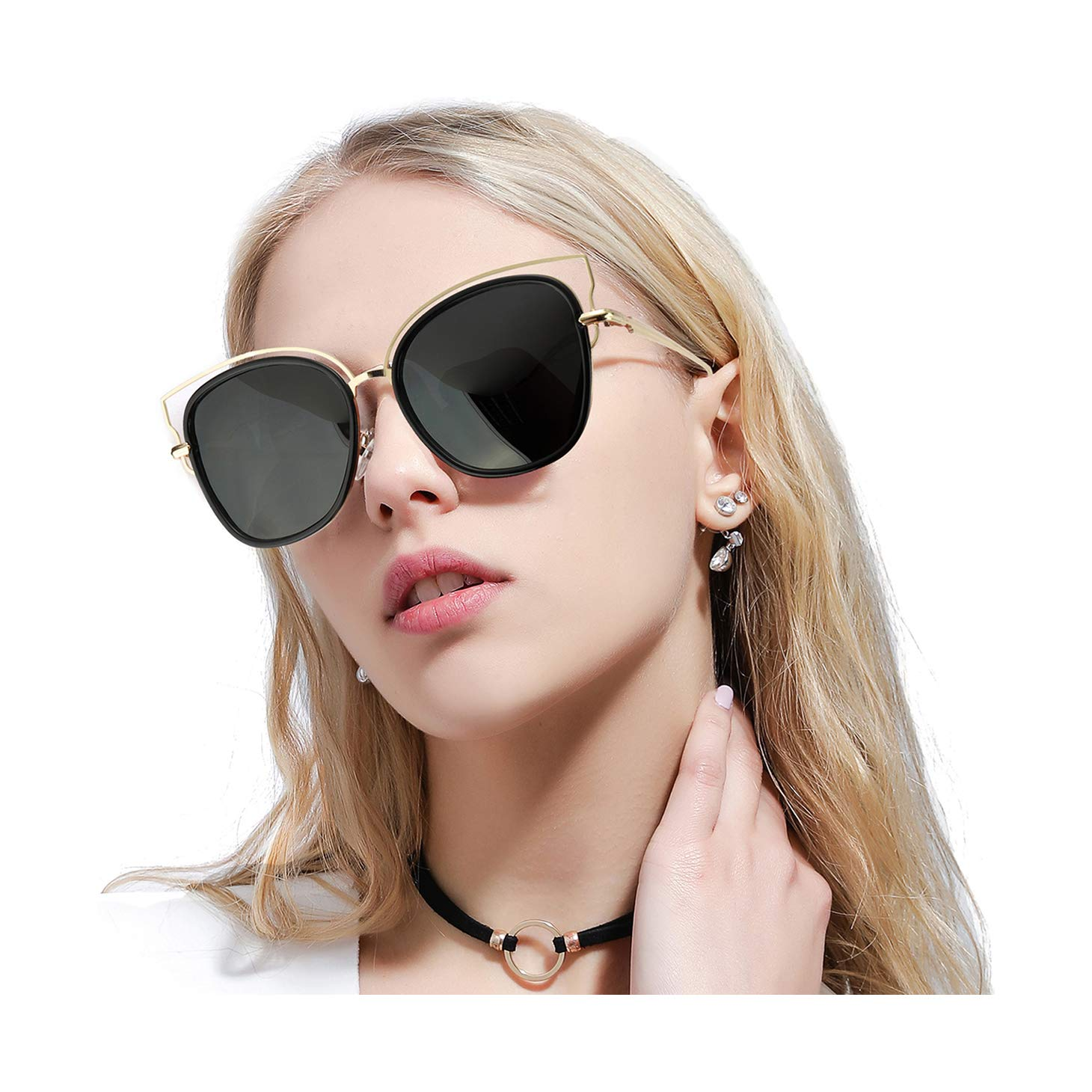 Black Grey FIMILU Oversized Cateye Mirrored Sunglasses for Women,HD Polarized Lenses & UV400 Predection Stylish Eyewear
