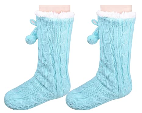 Knit House Shoes Winter Bedroom Sock Slippers for Women Blue US Size 7-9