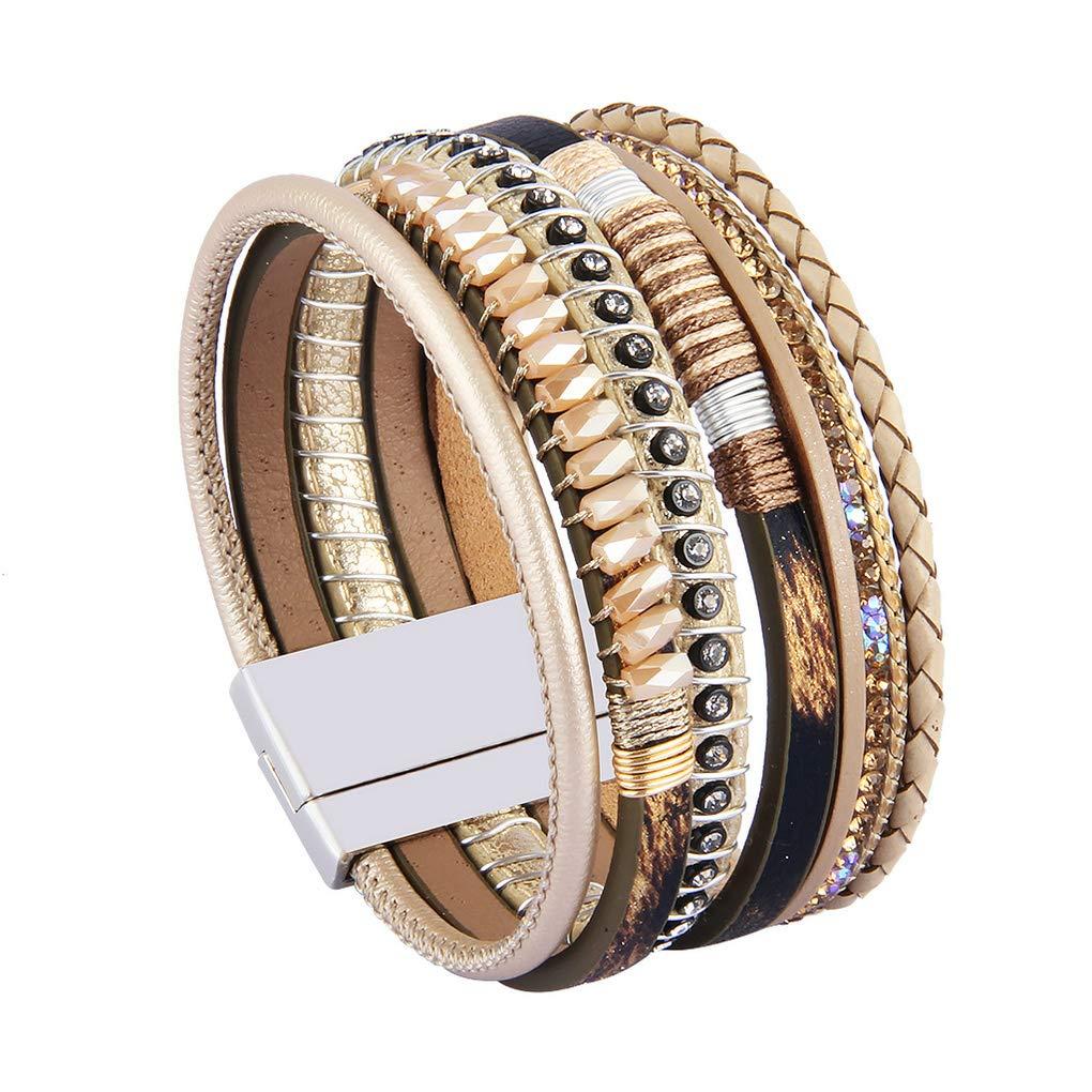 Bfiyi Leather Cuff Bracelets Women Crystal Bohemian Jewelry Woven Braided Handmade Wrap Cuff Bangle