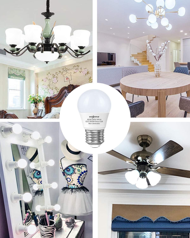 5000K Daylight E26 Medium Base Small LED Appliance Bulb for Bathroom Vanity Fixtures Non-dimmable 3-Pack A15 LED Ceiling Fan Light Bulbs 60 watt Equivalent