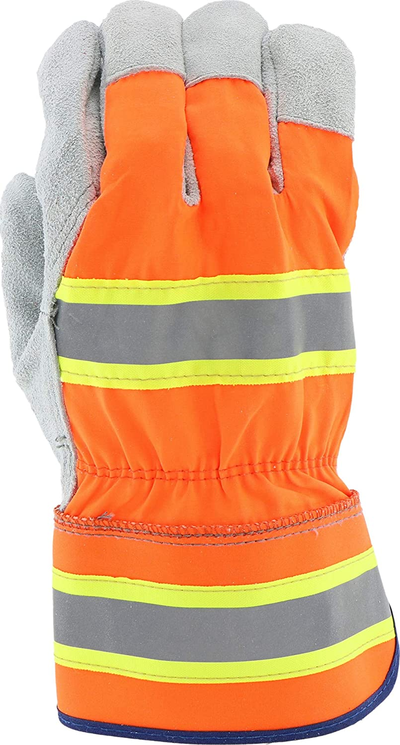 XL Pack of 12 Gray Orange Green West Chester HVO500 XL High-Visibility Split Cowhide Leather Palm Gloves