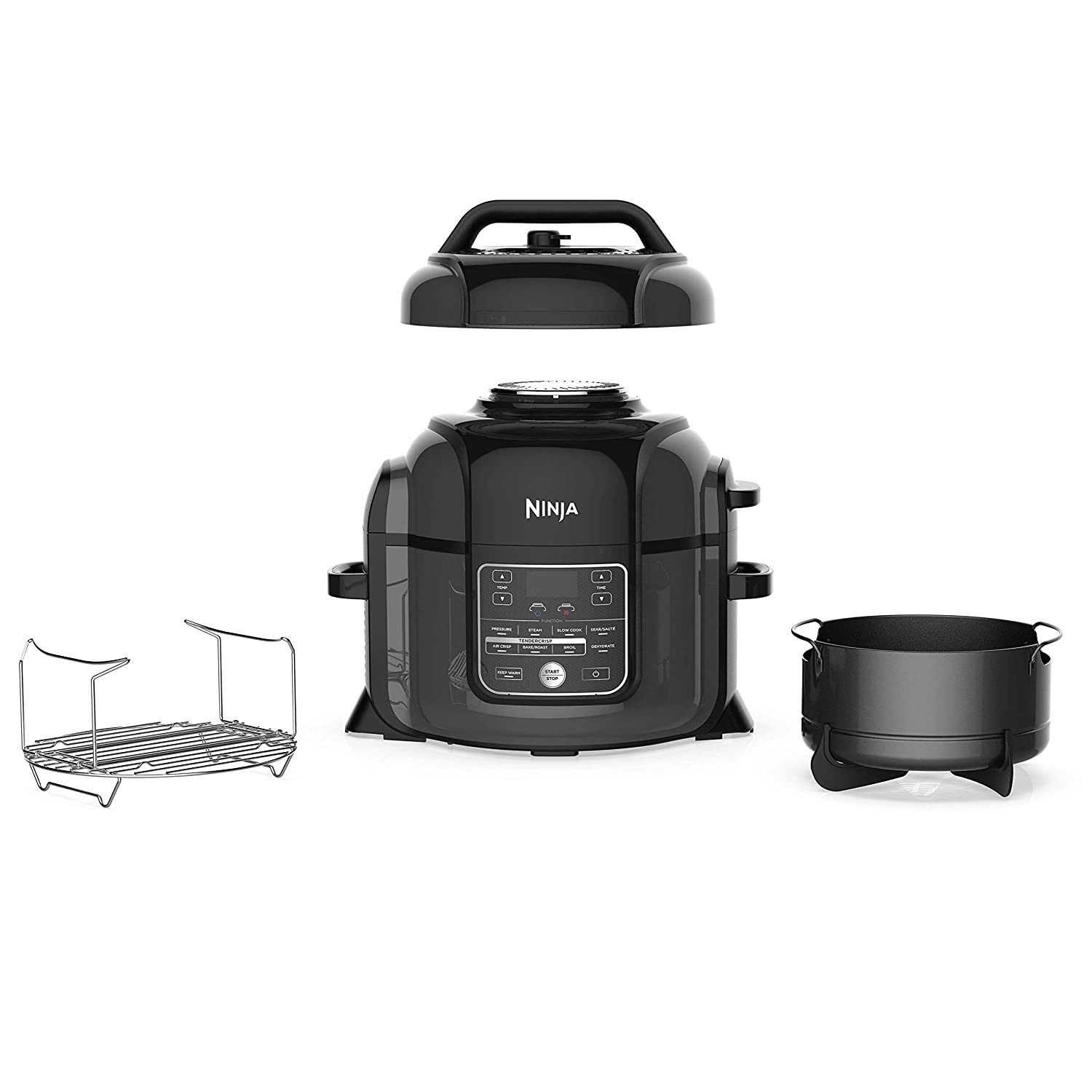 Ninja OP302 Pressure Cooker%2C Steamer %26 Air Fryer w%2FTenderCrisp Technology Pressure %26 Crisping Lid 6%2E5 quart w%2Fdehydrate Black%2FGray %28Renewed%29