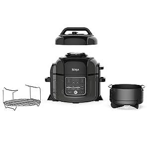 Ninja OP302 Pressure Cooker%2C Steamer %26 Air Fryer w%2FTenderCrisp Technology Pressure %26 Crisping Lid 6%2E5 quart w%2Fdehydrate Black%2FGray %28Renewed%29