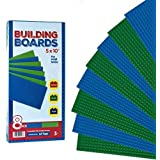 "Value Pack Base Plates (Set of 8 - 5"" X 10"") Compatible With Most Major Brands of Building Blocks - 4 Green and 4 Blue [Tight Fit with Lego]"