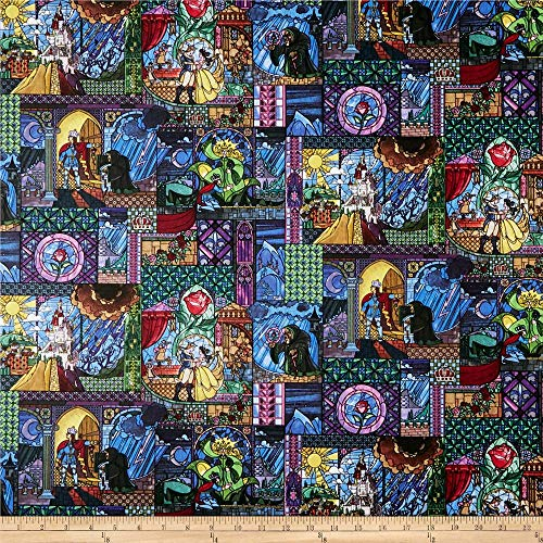 Springs Creative Products Disney Beauty And The Beast Cotton Belle Stained Glass Fabric, Multicolor, Fabric By The Yard