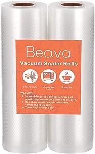 Vacuum Sealer Rolls 6 Inch, Beava 16.4 feet 2 Pack Vacuum Sealer Bags Double Embossed Food Saver Bags Heavy Duty Commercial Grade Vacuum Sealer Freezer Bags for Seal a Meal, Sous Vide or Meal Prep