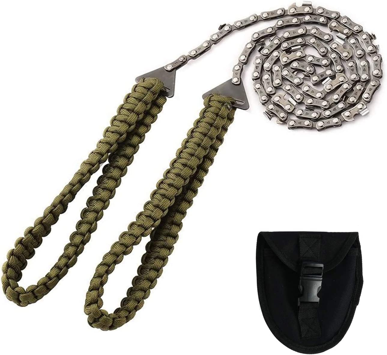 Pocket Chainsaw with Paracord Handle Emergency Outdoor Survival Gear Folding Chain Hand Saw with Carry Pouch for Camping, Hunting, Tree Cutting, Hiking, Backpacking (36inch-16teeth)