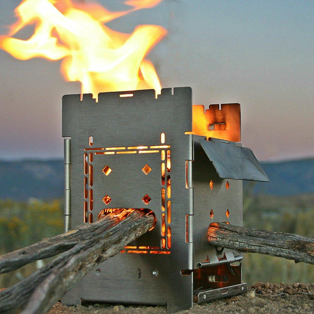 Firebox Campamento de bushcraft Kit - la estufa de leña/Multi combustible fogata portátil-plegable/plegable: Amazon.es: Deportes y aire libre