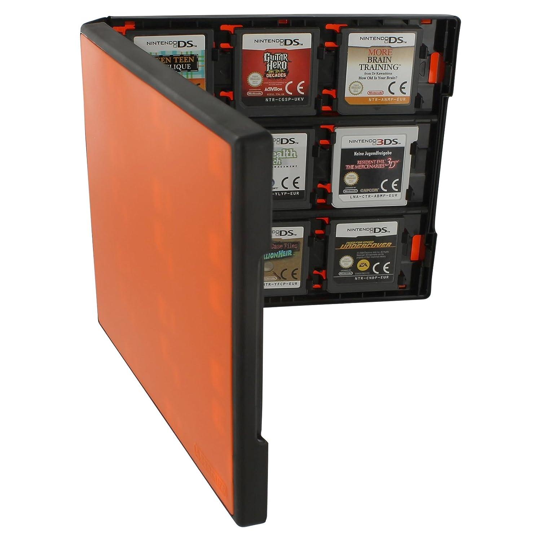 Assecure 18 game card case for Nintendo 3DS, - ̗̀new ̖́- 3DS XL, 2DS & DS - 18 in 1 game cartridge folio style plastic storage case travel box - Orange & black