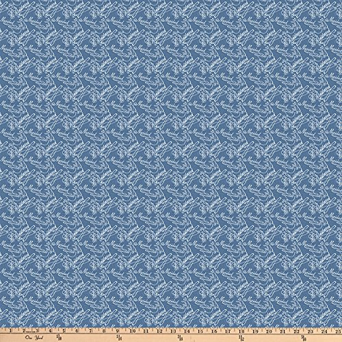 (FreeSpirit Fabrics Designer Essentials Mid Century Christmas Words Blue Fabric by The Yard)