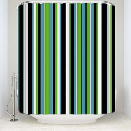 Image Unavailable Not Available For Color Striped Shower Curtain Set Black White Green Blue
