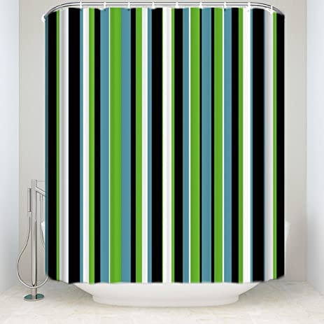 Striped Shower Curtain Set Black White Green Blue Colored Vertical Stripes Geometric Abstract Waterproof Fabric