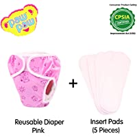 Paw Paw Reusable Fabric Diaper with Insert Pads (5 Pieces) - Combo Pack (Large (8-12 Kg), Pink)