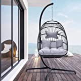 Indoor Outdoor Patio Wicker Hanging Chair Swing Hammock Egg Chairs UV Resistant Cushions with Aluminum Frame 350lbs Capaticy