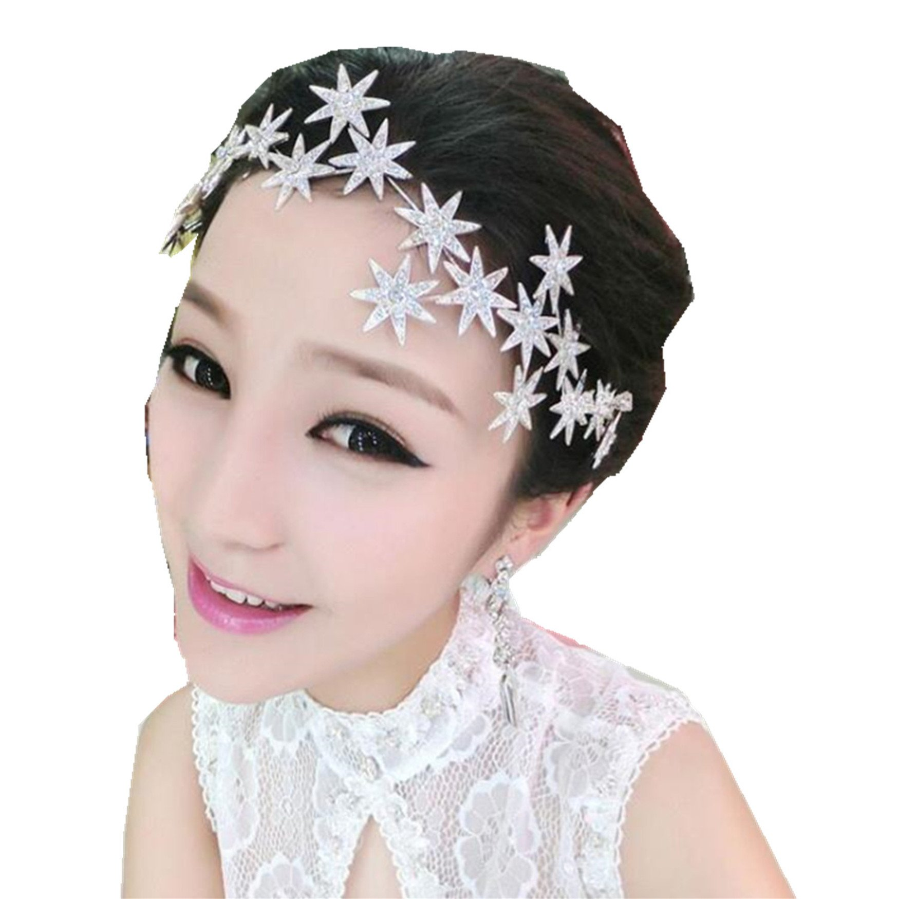 Wiipu Romantic Star Crystal Rhinestone Tiara Bridal Hair Accessories (A1717) (silver)