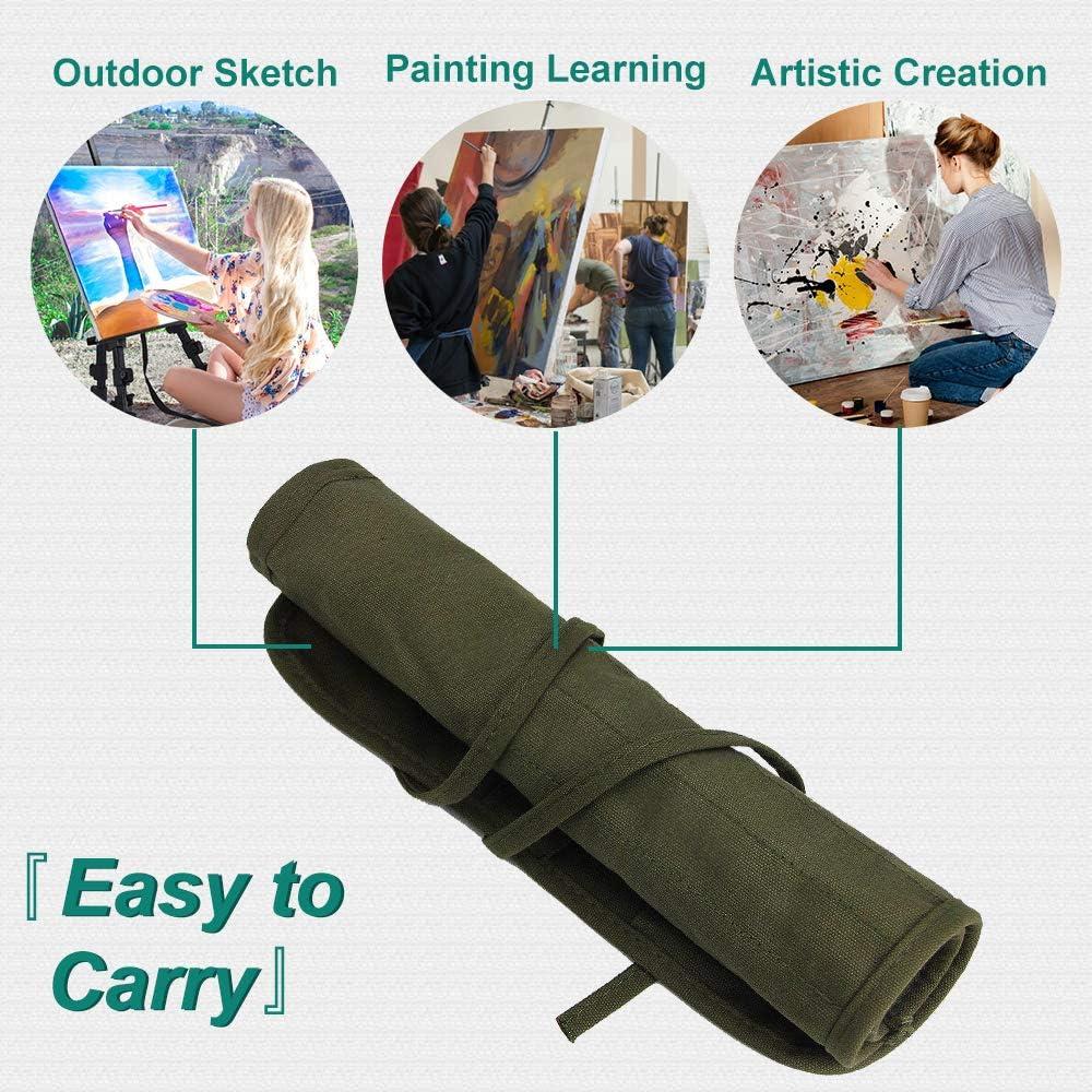 Armee Gr/ün ARPDJK Pinseltasche Tragbare K/ünstler Malen Aufbewahrung Tasche 22 Slots Segeltuch Pencil Case f/ür Aquarell /Ölziehstift Pinsel Make Up Pinsel