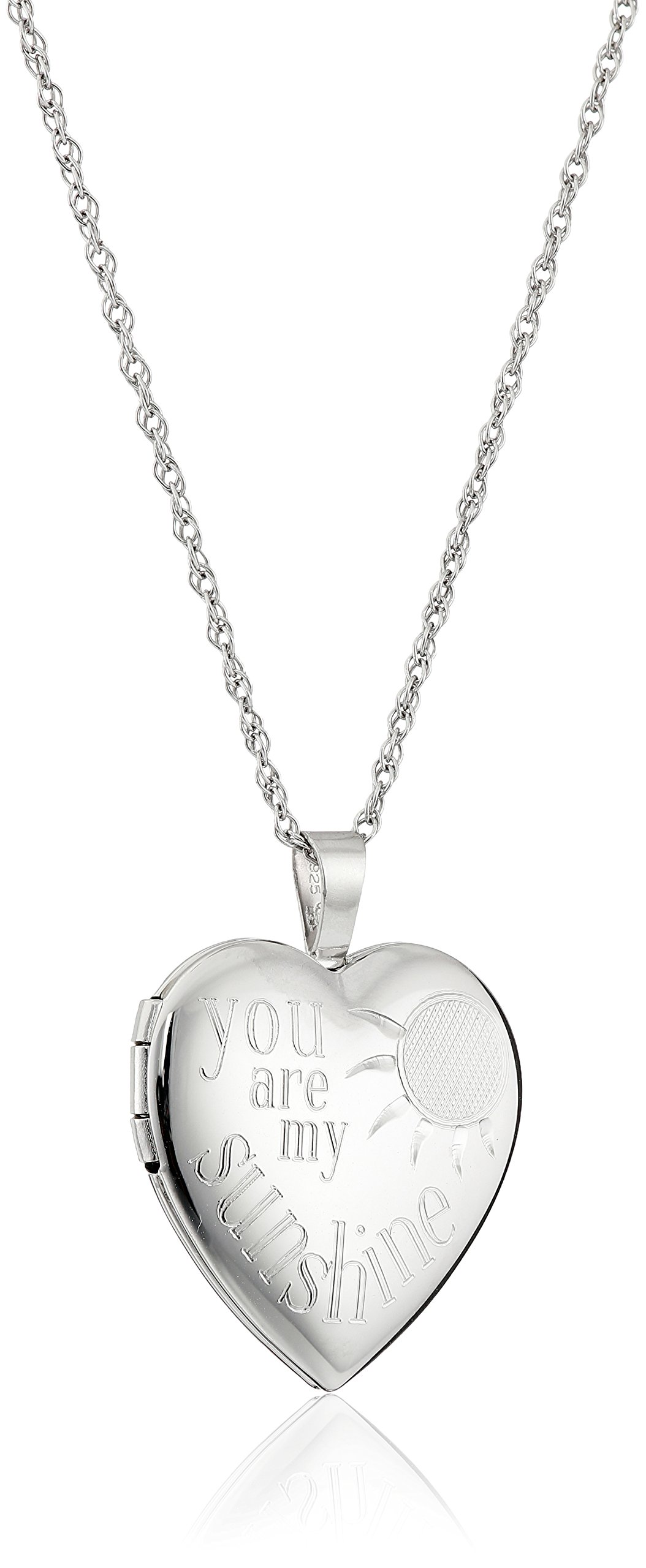 Sterling Silver Heart ''You Are My Sunshine'' Locket Necklace, 18'' by Amazon Collection