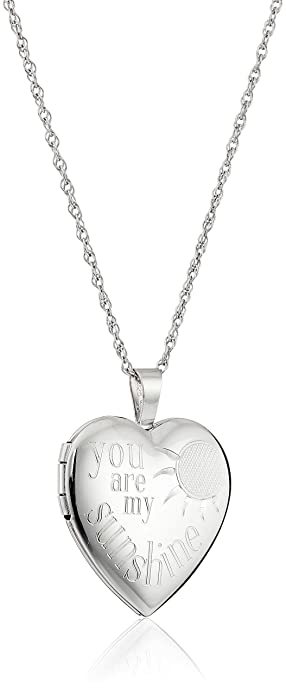 "04f25e845c7bf6 Image Unavailable. Image not available for. Color: Sterling Silver Heart  ""You Are My Sunshine"" Locket ..."