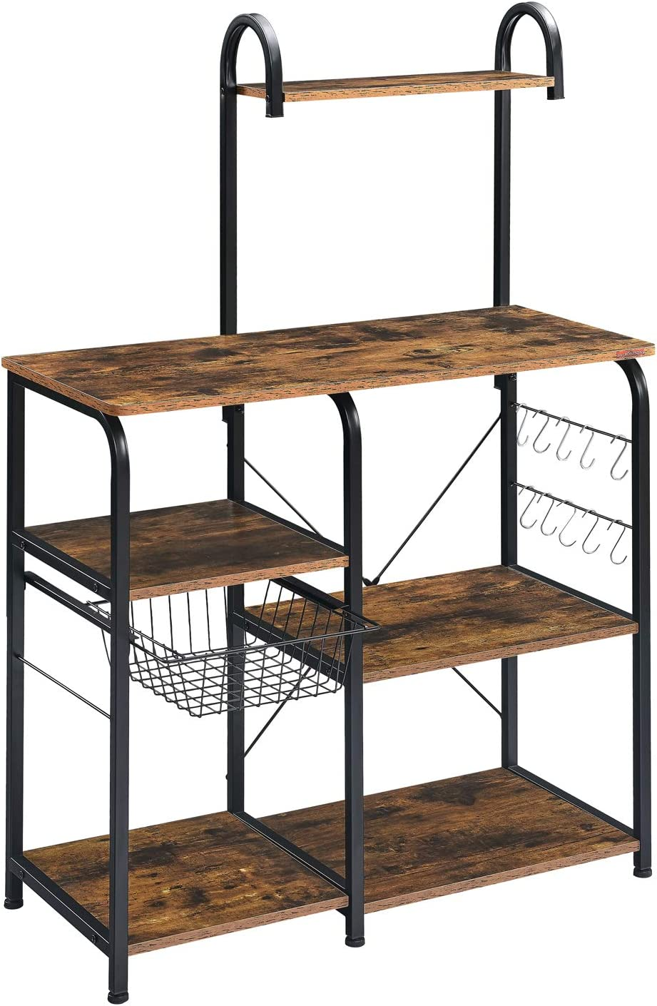 "Mr IRONSTONE Kitchen Baker's Rack Utility Storage Shelf 35.5"" Microwave Stand 4-Tier+3-Tier Shelf for Spice Rack Organizer Workstation(Rustic Brown)"