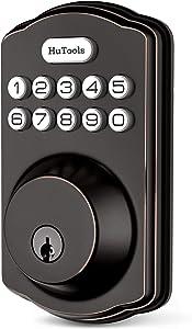 Keyless Entry Door Lock Deadbolt, Hutools Keypad Door Lock, Auto Lock Digital Back Lit Keypad, 20 User Codes, 1 Touch Lock, 1 Time Pin Code, Bronze