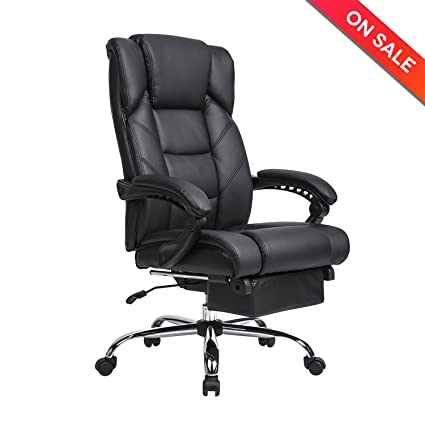K KADIRYA Reclining Leather Office Chair  High Back Executive With  Adjustable Angle Recline Locking System